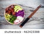 hawaiian tuna poke bowl with... | Shutterstock . vector #462423388