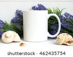 mock up of a white mug with... | Shutterstock . vector #462435754