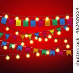 color pennant bunting and warm... | Shutterstock . vector #462439324