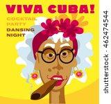 cuban woman face. cartoon... | Shutterstock .eps vector #462474544
