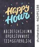 happy hour. chalkboard sign...