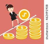 businesswoman coin rolls up.... | Shutterstock .eps vector #462491908