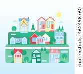 modern flat town and houses... | Shutterstock .eps vector #462498760
