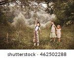 children happy outdoors. | Shutterstock . vector #462502288