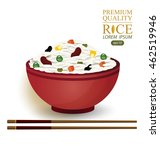 rice bowl and chopstick. vector ... | Shutterstock .eps vector #462519946