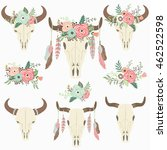 floral tribal bison skull  ...   Shutterstock .eps vector #462522598