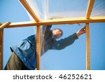 carpenter makes a wooden... | Shutterstock . vector #46252621