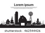 silhouette farm with house ... | Shutterstock .eps vector #462544426
