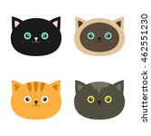 cat head set. siamese  red ... | Shutterstock .eps vector #462551230