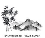 bamboo tree and mountains on... | Shutterstock . vector #462556984