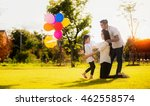 daughter running to mother and... | Shutterstock . vector #462558574