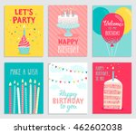 birthday card set. vector... | Shutterstock .eps vector #462602038