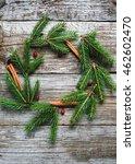 christmas wreath of fir twigs ... | Shutterstock . vector #462602470