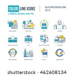 color thin line icons set. e... | Shutterstock .eps vector #462608134