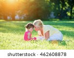 mom and little girl softly... | Shutterstock . vector #462608878