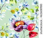 seamless wallpaper with spring... | Shutterstock . vector #462608980