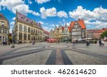 Beautiful panoramic view of historic Bremen Market Square in the center of the Hanseatic City of Bremen with The Schuetting and famous Raths buildings on a sunny day with blue sky in summer, Germany