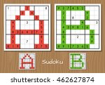 sudoku vector set with answers. ... | Shutterstock .eps vector #462627874
