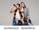 man drinking beer  watching... | Shutterstock . vector #462648310