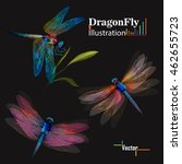 Stock vector dragonfly set of three dragonflies illustration on black can be used as design elements 462655723