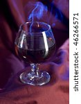 glass with cognac on luxury red ... | Shutterstock . vector #46266571