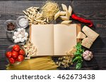 the blank  open recipe book and ... | Shutterstock . vector #462673438