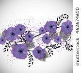 Purple Flowers And Black Leave...
