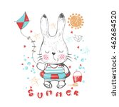 hand drawn bunny at the beach...   Shutterstock .eps vector #462684520