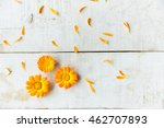 pattern of calendula flowers on ... | Shutterstock . vector #462707893