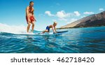 father and son surfing together ... | Shutterstock . vector #462718420