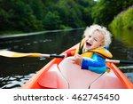 happy kid enjoying kayak ride... | Shutterstock . vector #462745450