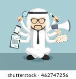 arab businessman meditate and... | Shutterstock .eps vector #462747256