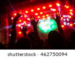 hands in the air of a crowd at... | Shutterstock . vector #462750094