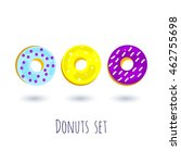 cartoon color donuts with stars ...
