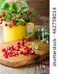 Wild Strawberries In Yellow Mu...