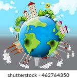houses and factory buildings on ... | Shutterstock .eps vector #462764350