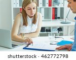young female employee of the... | Shutterstock . vector #462772798