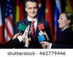journalists making interview... | Shutterstock . vector #462779446