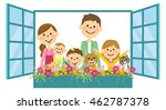 family put his head out the... | Shutterstock .eps vector #462787378