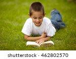 little happy boy reading book | Shutterstock . vector #462802570