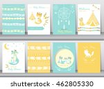 set of baby shower invitation... | Shutterstock .eps vector #462805330