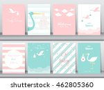 Stock vector set of baby shower invitations cards poster greeting template stork vector illustrations 462805360