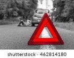 driver lying under the broken...   Shutterstock . vector #462814180