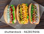 assorted three hot dogs with... | Shutterstock . vector #462819646