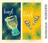 brazil carnival symbols. drum... | Shutterstock .eps vector #462831850