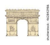 arch of triumph paris france...   Shutterstock .eps vector #462842986
