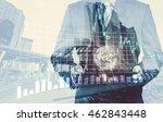 double exposure of success... | Shutterstock . vector #462843448