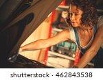 beautiful auto mechanic woman... | Shutterstock . vector #462843538