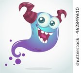 Happy Cartoon Blue Ghost With...