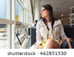 casual woman in airport hall.... | Shutterstock . vector #462851530